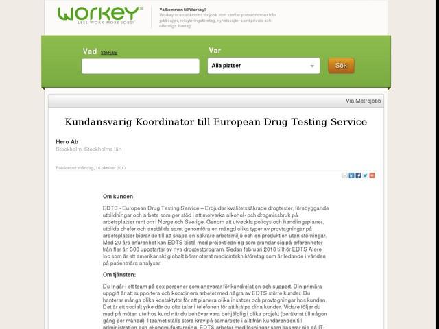Kundansvarig Koordinator till European Drug Testing Service
