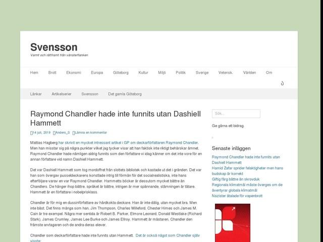 Raymond Chandler hade inte funnits utan Dashiell Hammett