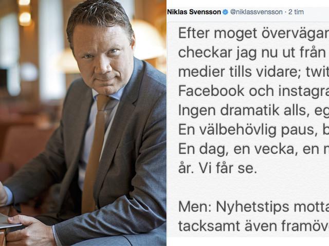 Niklas Svensson loggar ut från sociala medier – på obestämd tid