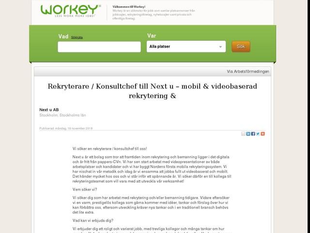 Rekryterare / Konsultchef till Next u – mobil & videobaserad rekrytering &
