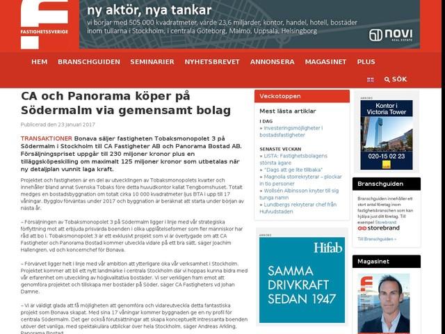 CA och Panorama köper på Södermalm via gemensamt bolag