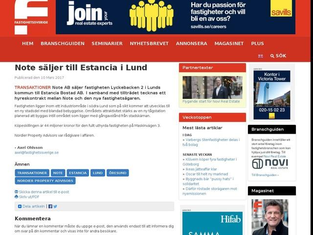 Note säljer till Estancia i Lund