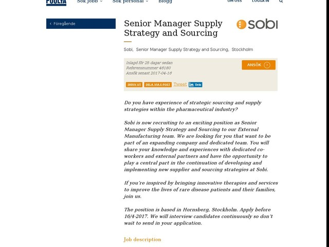 Senior Manager Supply Strategy and Sourcing