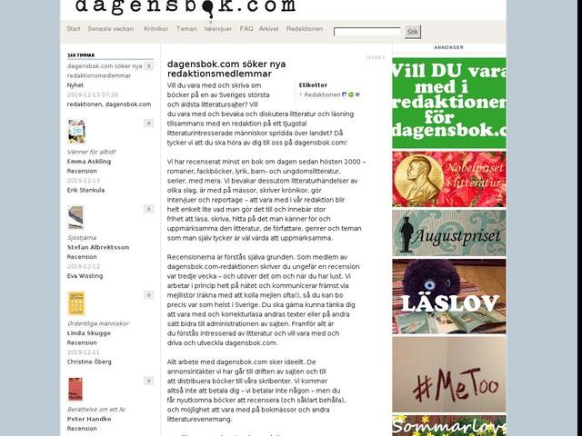 dagensbok.com söker nya redaktionsmedlemmar