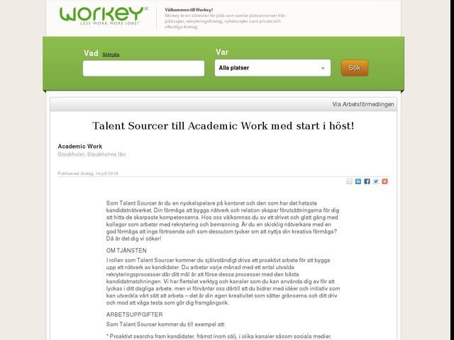 Talent Sourcer till Academic Work med start i höst!
