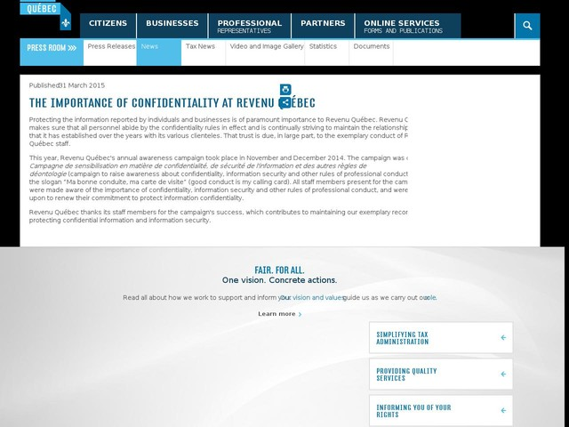 The Importance of Confidentiality at Revenu Québec