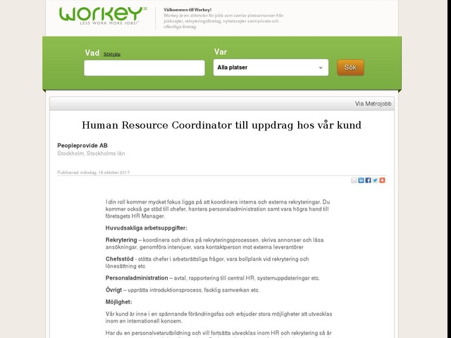 Human Resource Coordinator till uppdrag hos vår kund