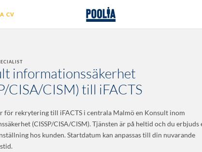Konsult informationssäkerhet (CISSP/CISA/CISM), Poolia Malmö AB