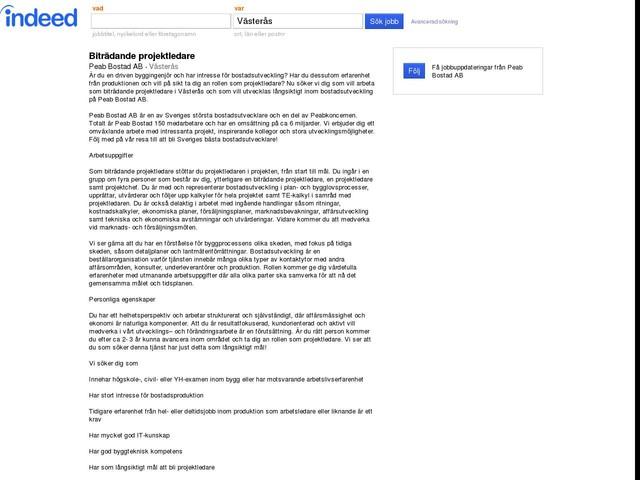 Biträdande projektledare - Peab Bostad AB - Västerås