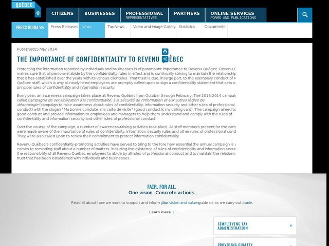 The Importance of Confidentiality to Revenu Québec