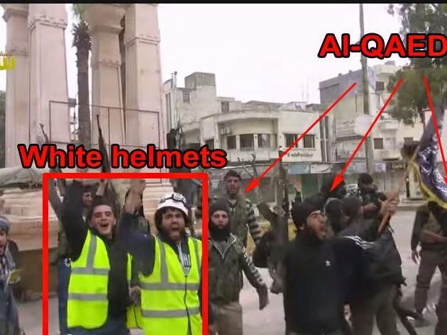 I White Helmets högkvarter i Aleppo fanns al-Nusras och ISIS' emblem.