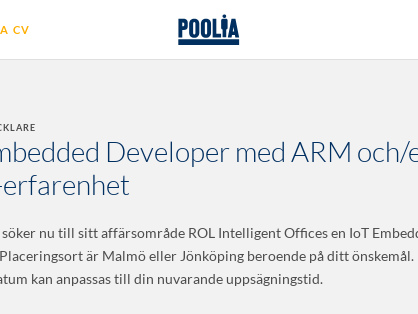 IoT Embedded Developer med ARM och/eller MIPS-erfarenhet, Poolia Malmö AB