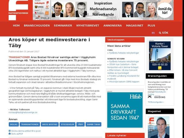 Aros köper ut medinvesterare i Täby