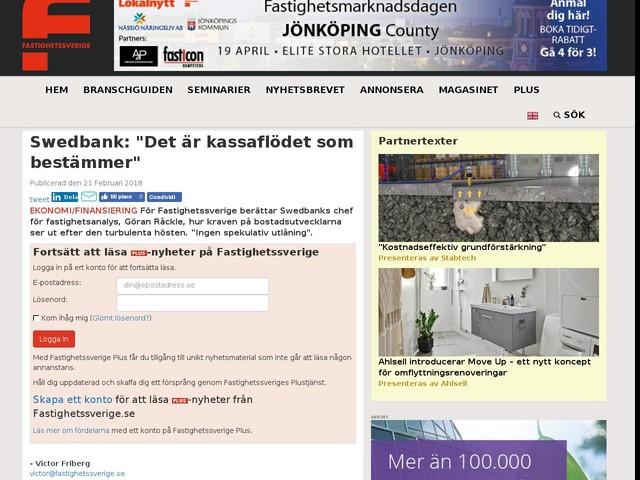 """Swedbank: """"Det är kassaflödet som bestämmer"""""""