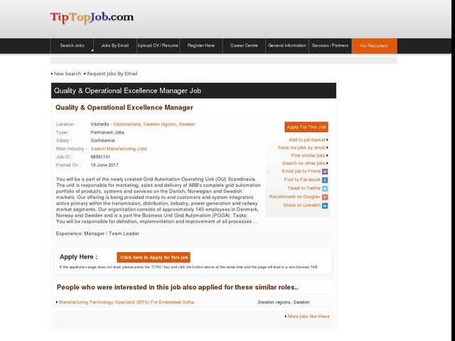 Quality & Operational Excellence Manager