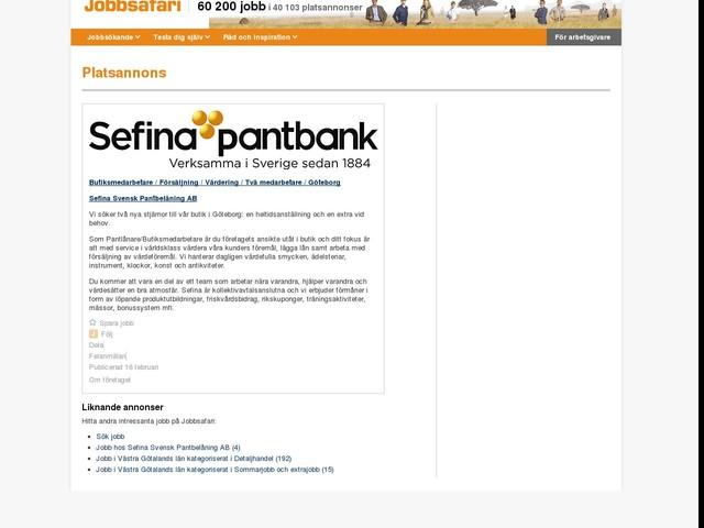 Butiksmedarbetare / Försäljning / Värdering / Två medarbetare / Göteborg, Sefina Svensk Pantbelåning AB