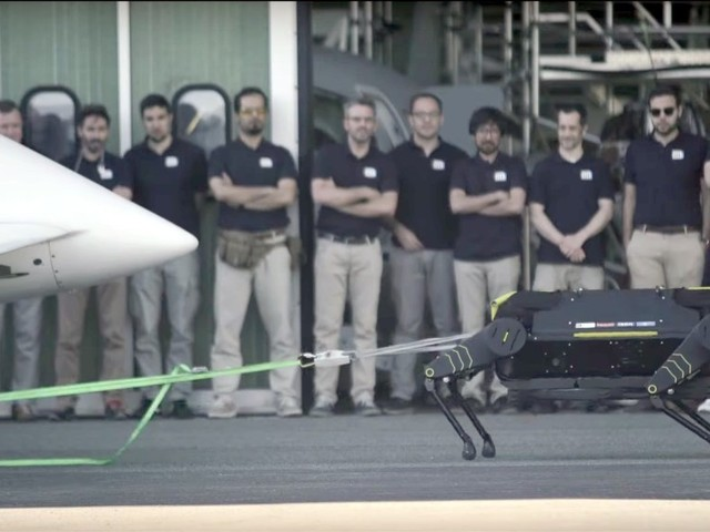 Robothunden HyQReal drar ett flygplan på 3,3 ton