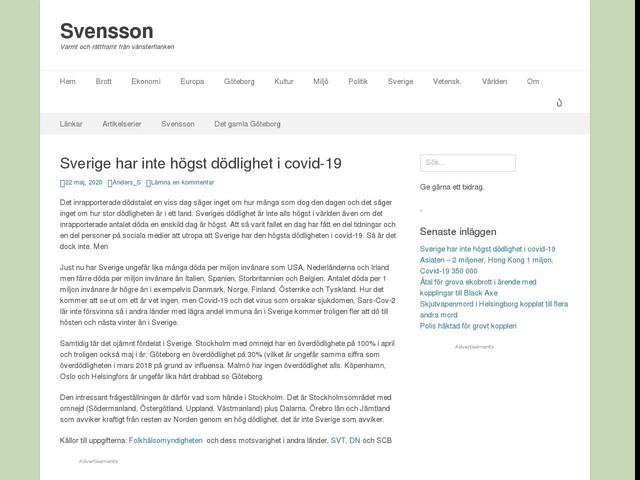 Sverige har inte högst dödlighet i covid-19
