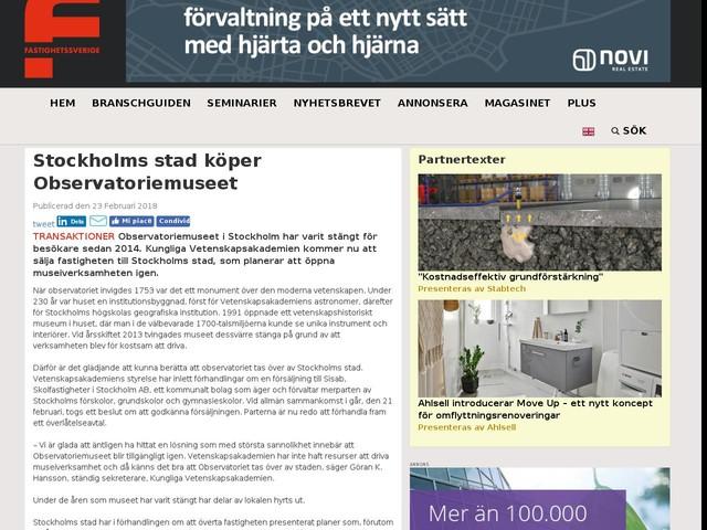 Stockholms stad köper Observatoriemuseet