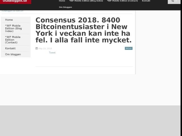 Consensus 2018. 8400 Bitcoinentusiaster i New York i veckan kan inte ha fel. I alla fall inte mycket.