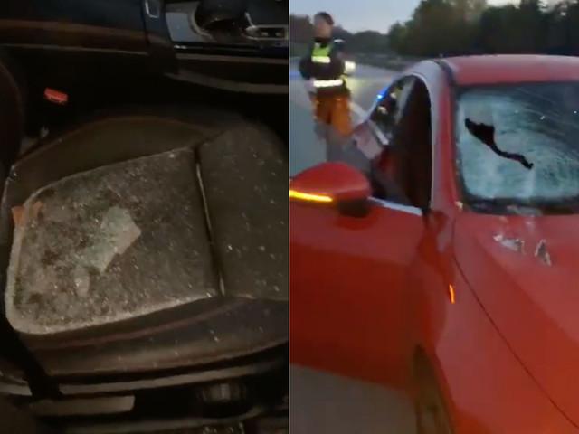 Fick framrutan krossad på E6 – någon slängde takpanna på bilen