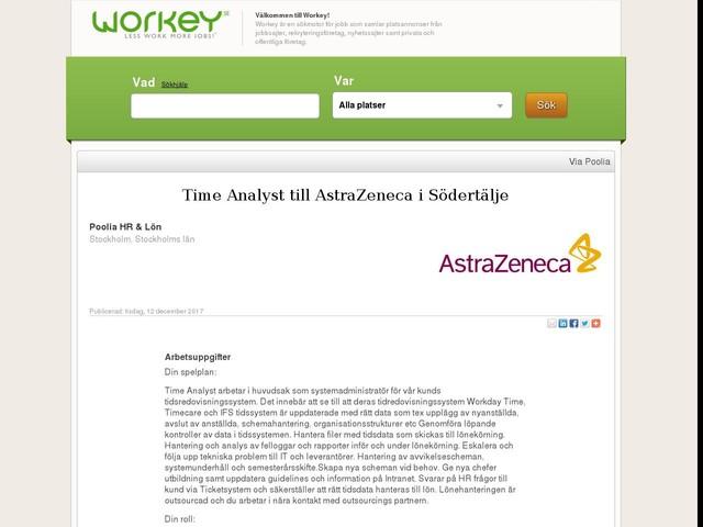Time Analyst till AstraZeneca i Södertälje