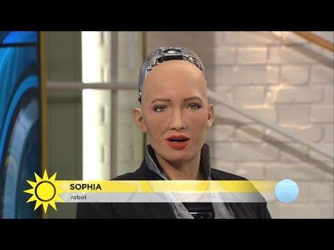 Humanoida roboten Sophia på besök i Sverige