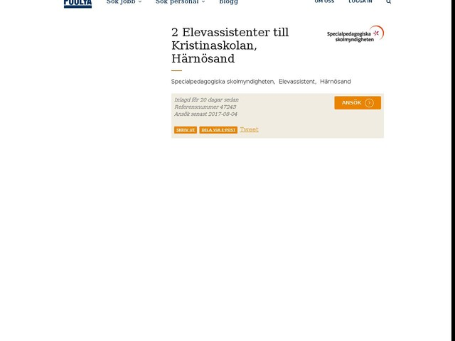 2 Elevassistenter till Kristinaskolan, Härnösand