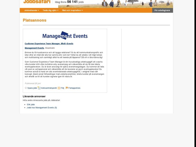 Customer Experience Team Manager, BtoB -Events, Management Events
