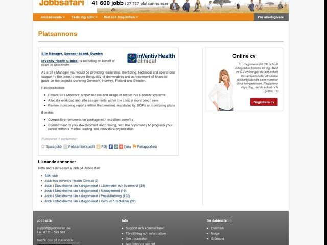 Site Manager, Sponsor based, Sweden, Jobg8