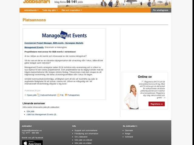 Commercial Project Manager, B2B events - Norwegian Markets, Management Events