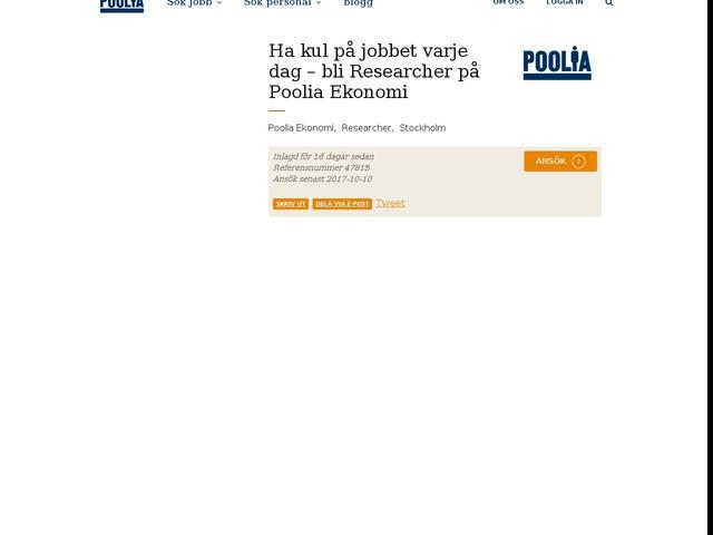 Ha kul på jobbet varje dag – bli Researcher på Poolia Ekonomi