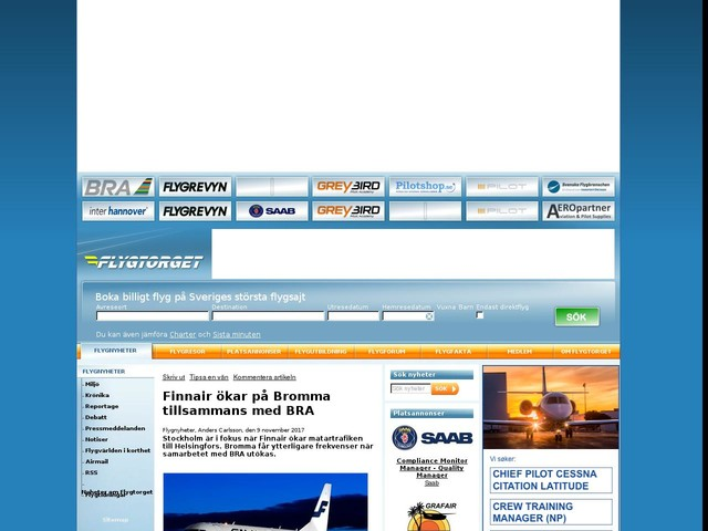 Finnair ökar på Bromma tillsammans med BRA