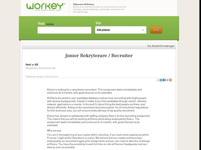Junior Rekryterare / Recruiter