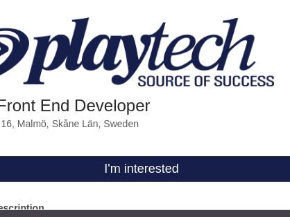 Senior Front End Developer, Playtech Holding Sweden AB