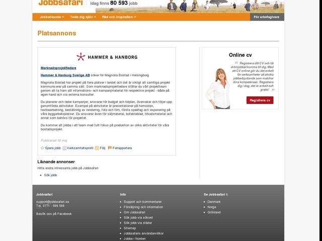 Marknadsprojektledare, Hammer & Hanborg Sverige AB