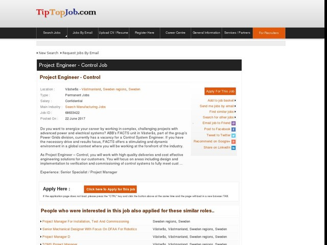 Project Engineer - Control
