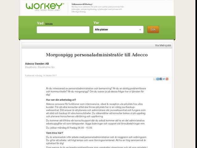 Morgonpigg personaladministratör till Adecco