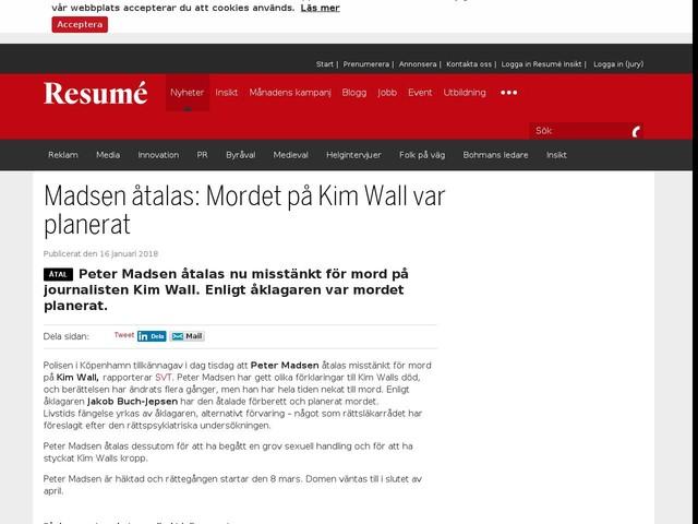 Madsen åtalas: Mordet på Kim Wall var planerat