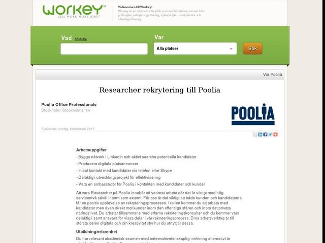 Researcher rekrytering till Poolia