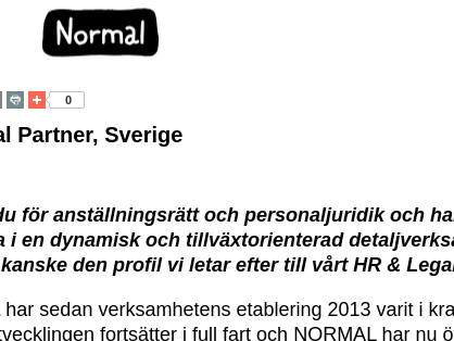 HR Legal Partner, Normal A/S