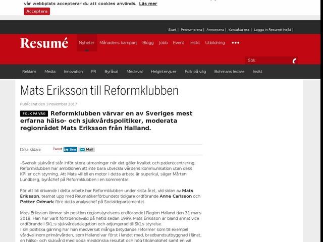Mats Eriksson till Reformklubben