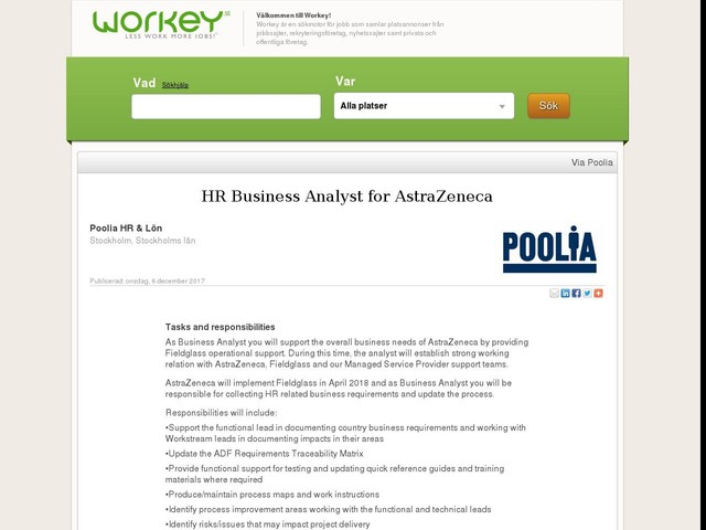 HR Business Analyst for AstraZeneca