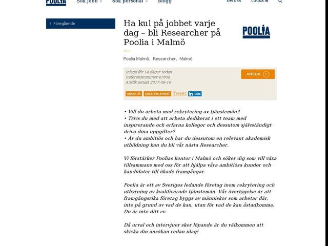 Ha kul på jobbet varje dag – bli Researcher på Poolia i Malmö