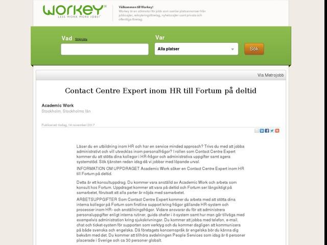 Contact Centre Expert inom HR till Fortum på deltid