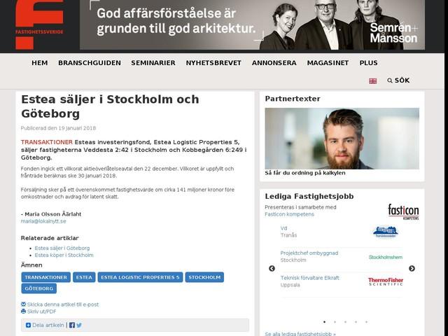Estea säljer i Stockholm och Göteborg
