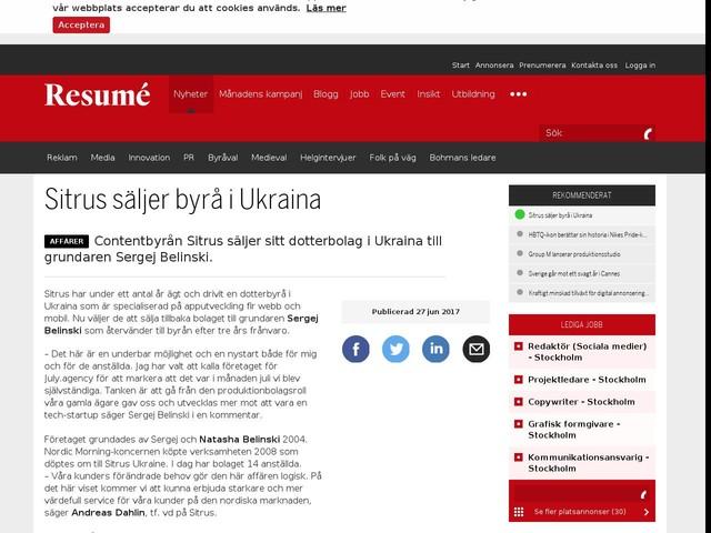 Sitrus säljer byrå i Ukraina