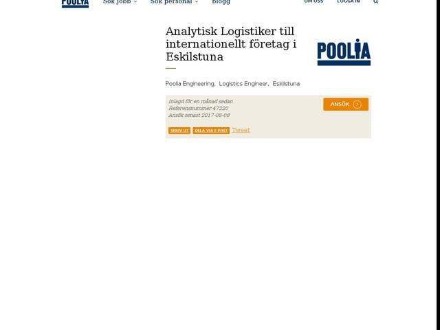 Analytisk Logistiker till internationellt företag i Eskilstuna