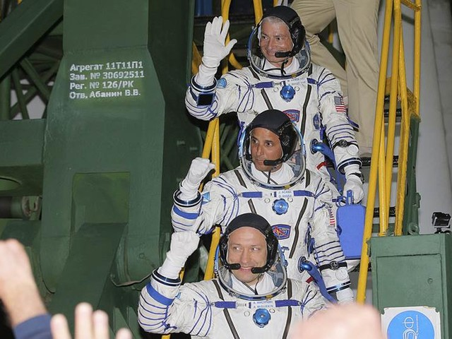 Rymdfarare framme vid ISS