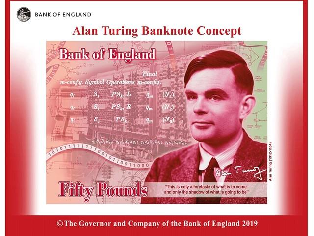 Påskägg på brittisk Alan Turing-sedel